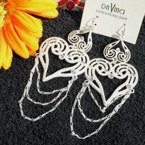 NEW! Large Boho Earrings Heart Dangles Ivory Bling